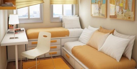 Contemporary Orange Theme Minimalist Bedroom Interior Design