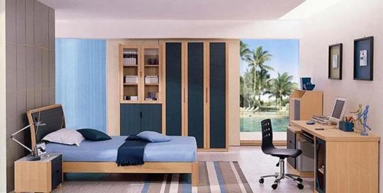 Blue beach theme teenager bedroom