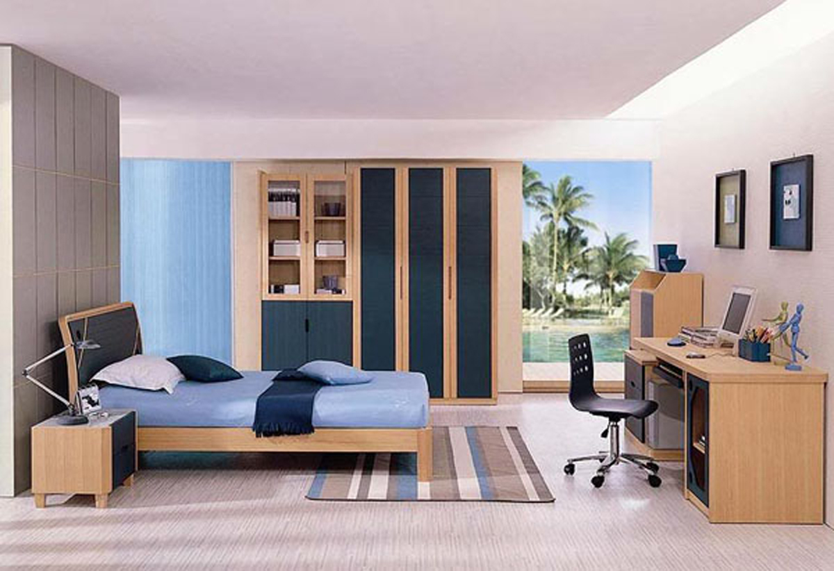 Blue beach theme teenager bedroom