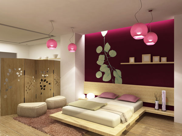 Comfortable japanese style bedroom interior design