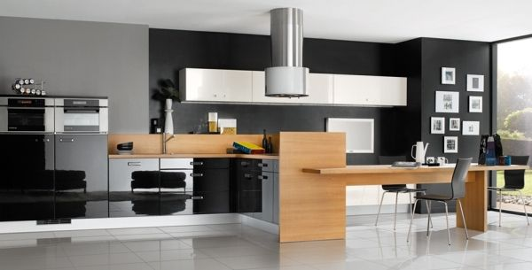 Contemporary black and wood grain style kitchen design and kitchen cabinets