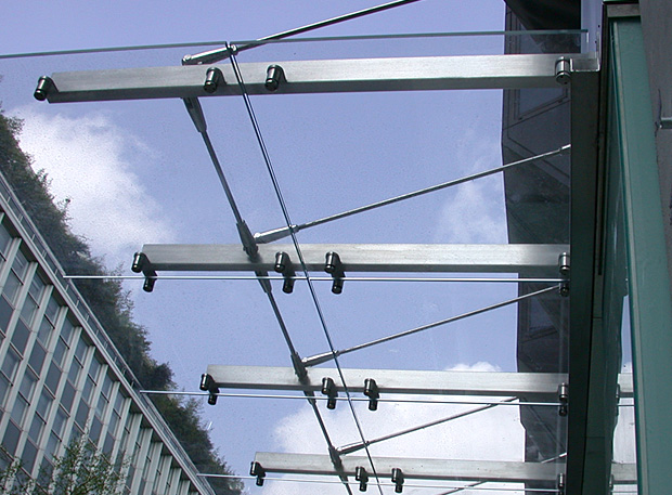 Glass and stainless steel canopy