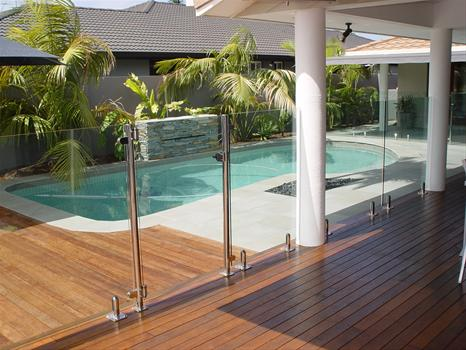 Glass balustrade with stainless steel fittings