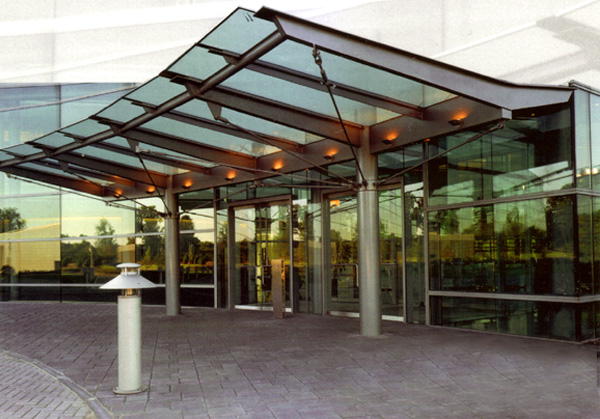 Glass canopy with mild steel structure.