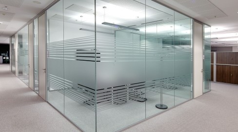 Glass partition with tinted film