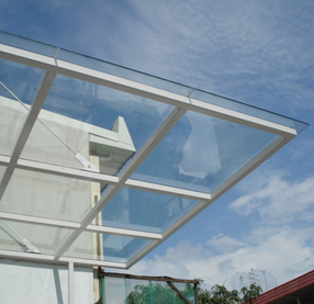 Glass skylight with mild steel structure