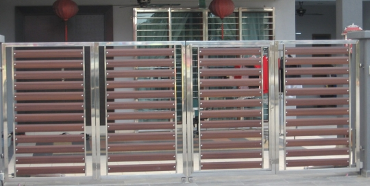 Horizontal style stainless steel with wood plate main gate