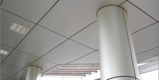 Indoor aluminum cladding for ceiling and pillar