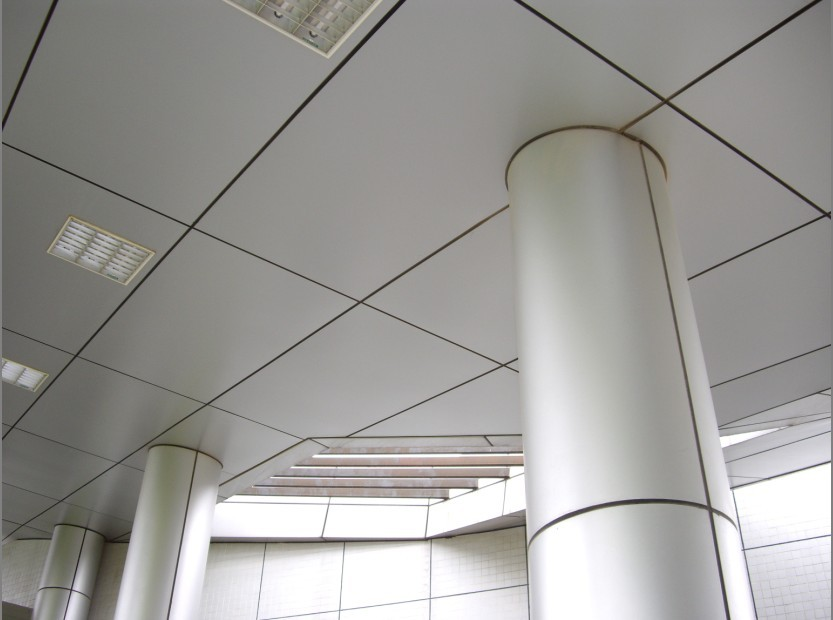Indoor aluminum cladding for ceiling and pillar