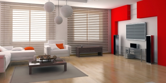 Modern minimal red and white color theme interior design