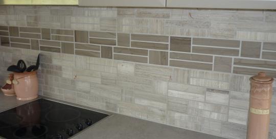 Kitchen wall stone cladding
