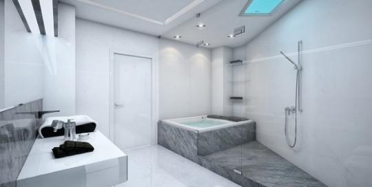 Marble tiles luxury large bathroom design