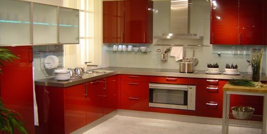 Modern minimalist red kitchen cabinets kitchen design