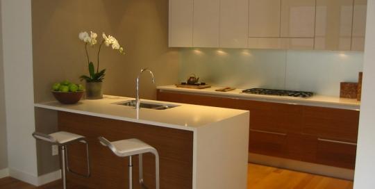 Modern minimalist white kitchen cabinet and countertops kitchen design
