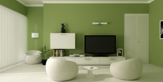 Modern trend green theme relax living room