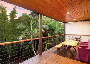 Outdoor timber deck balcony