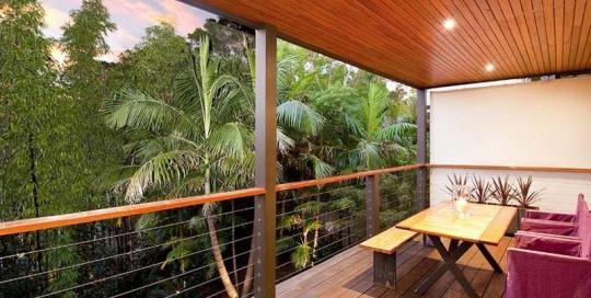 Outdoor timber deck balcony