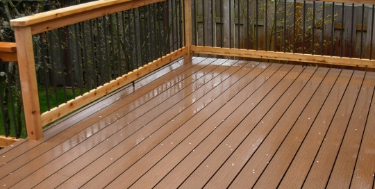 Outdoor timber deck balcony with wood balustrade