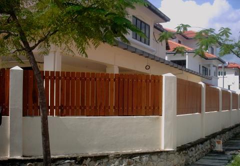 Outdoor perimeter wood fencing