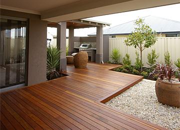 Outdoor garden timber deck