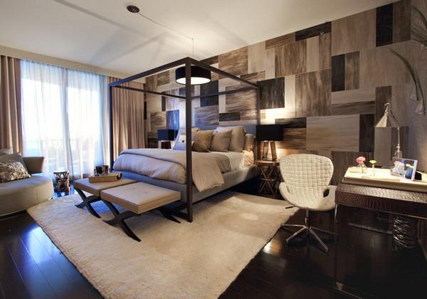 Pampering bedroom with nice wallpaper interior design