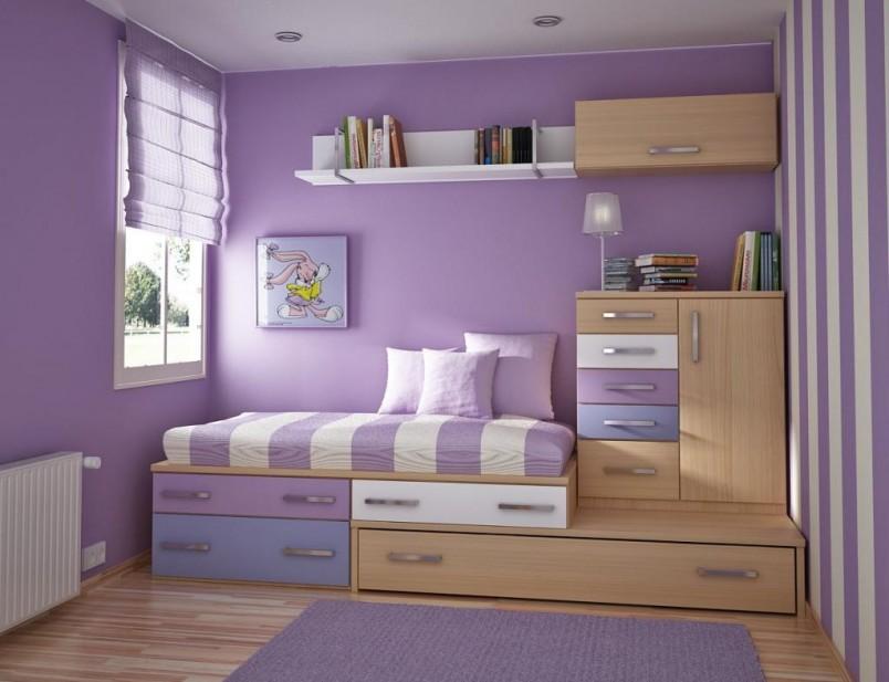 Purple theme kids bedroom