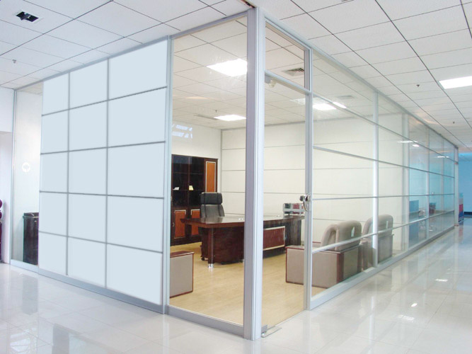 Steel frame with glass partition