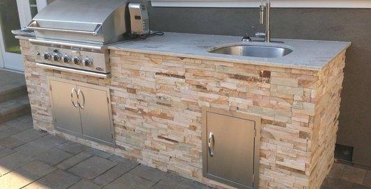 Outdoor basin stone cladding