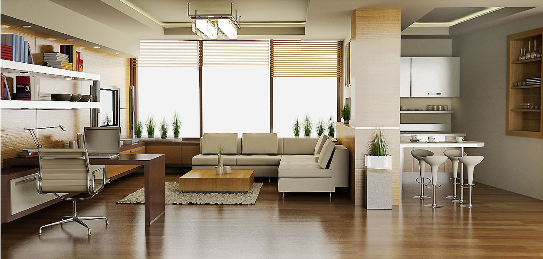 Studio living room with working desk design