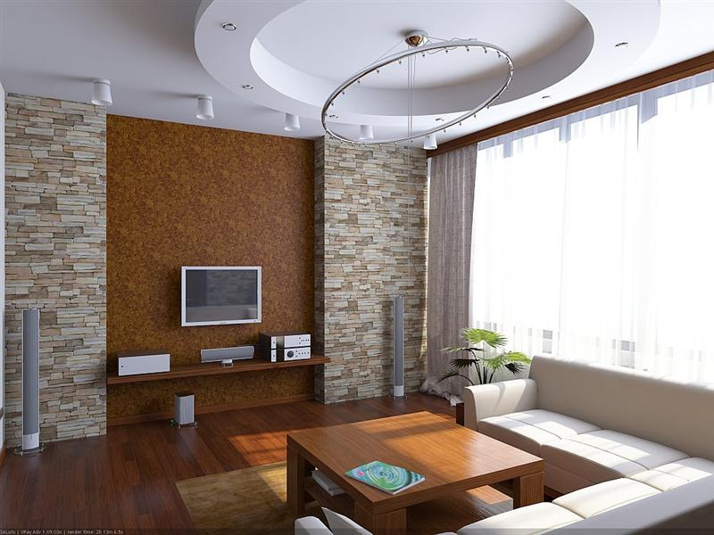 Superb living room interior design with nice wallpaper and plaster ceiling design