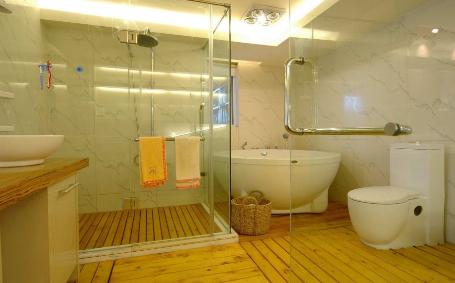 Timber wood bathroom floor design