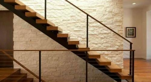 Staircase wall stone cladding