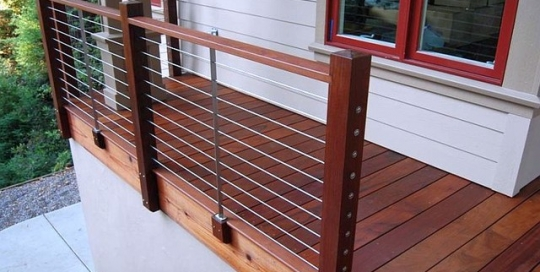 Wood frame with cable railing