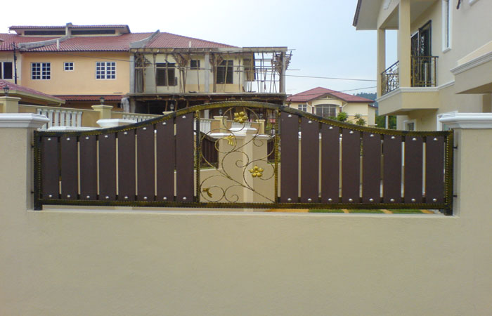 Wrought iron fencing with wood piece