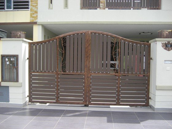 Brown color wrought iron main gate