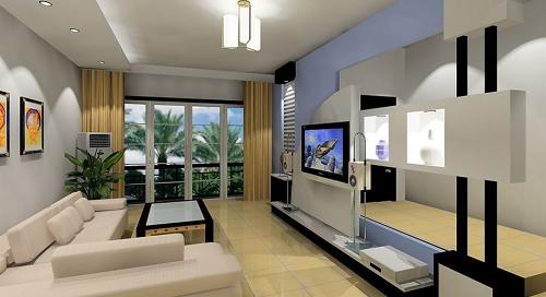 Modern minimalist style interior design living room