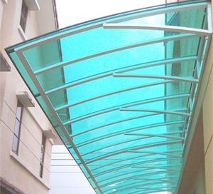 Rounded curve glass canopy skylight