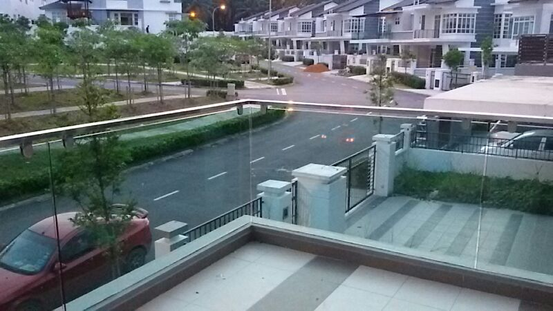 Flat shape stainless steel railing with tampered glass balcony balustrade 2