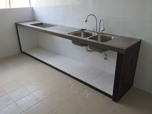Kitchen Sink Top : Kitchen-concrete-table-top-with-tiles-and-embeded-double-kitchen-sink ...
