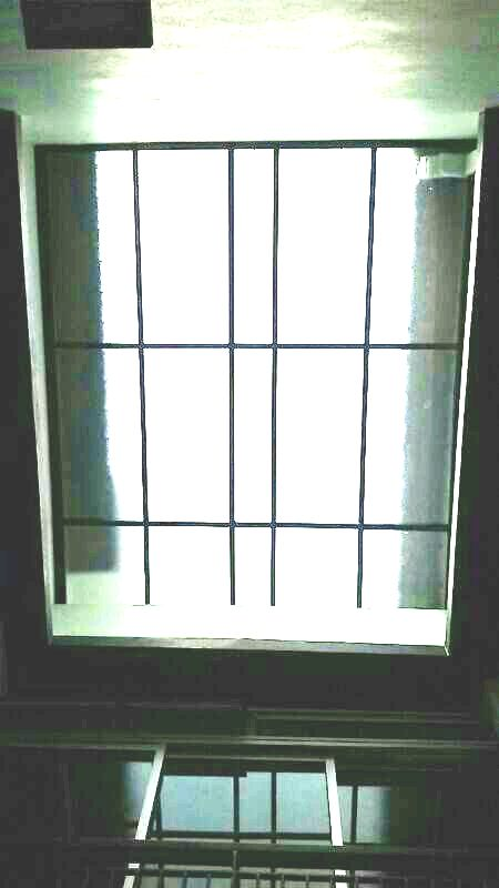 Fully covered 5mm polycarbonate solid panel air well skylight with one and a half inches hollow mild steel frames