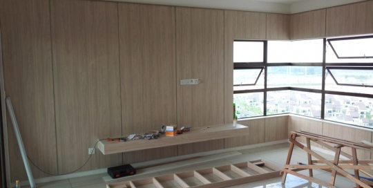 Living room wood finish formica wall panels with TV console