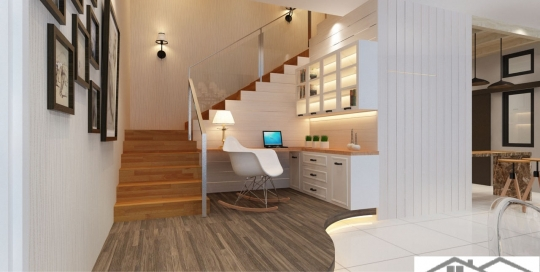 Study Corner on a wooden style laminated floor