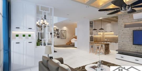 Modern minimalist style living hall