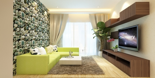 Greenery and rocky feel living hall
