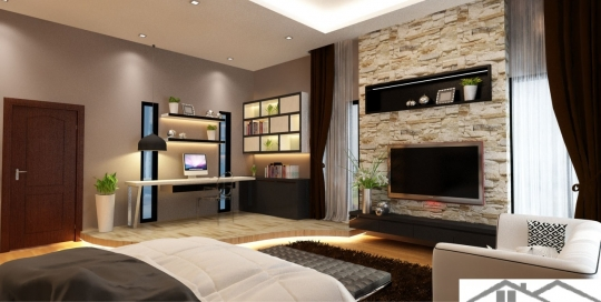 Study corner & TV entertainment wall design in master bedroom