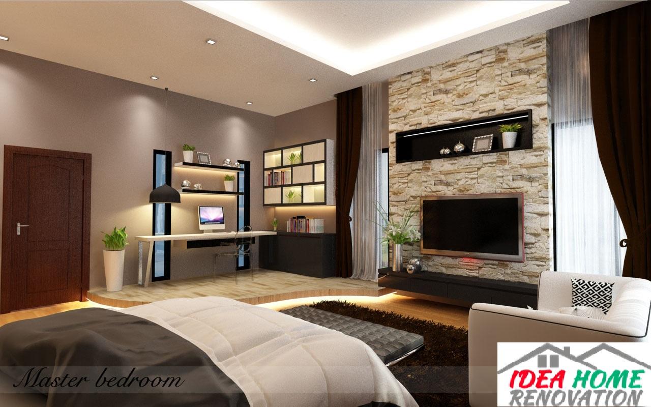 Study corner & TV entertainment wall design in master bedroom