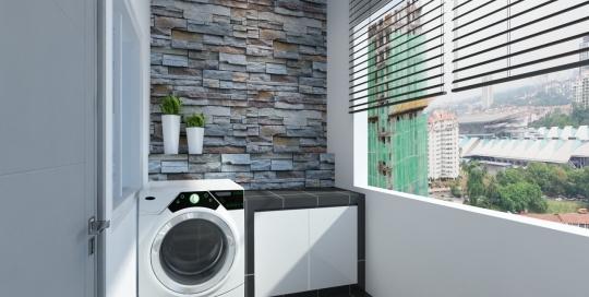 Apartment Stone Cladding Theme Laundry Back Yard